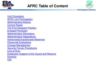 AFRC Table of Content