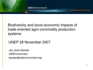 Biodiversity and socio-economic impacts of trade-oriented agro-commodity production systems