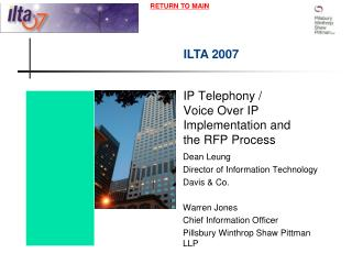 IP Telephony /  Voice Over IP Implementation and the RFP Process