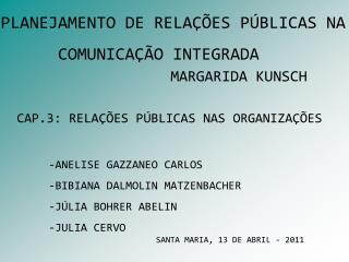 CAP.3: RELAÇÕES PÚBLICAS NAS ORGANIZAÇÕES