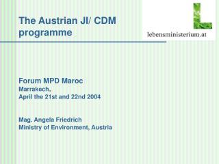 The Austrian JI/ CDM programme