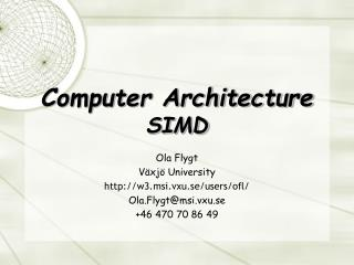 Computer Architecture SIMD