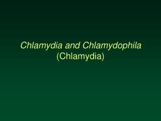 Chlamydia and Chlamydophila Chlamydia