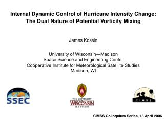 Internal Dynamic Control of Hurricane Intensity Change: The Dual Nature of Potential Vorticity Mixing  James Kossin  Uni
