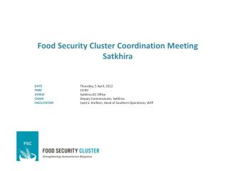 Food Security Cluster Coordination Meeting Satkhira