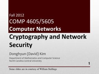 Fall 2012 COMP 4605/5605 Computer  Networks