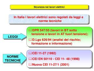 In Italia i lavori elettrici sono regolati da leggi e norme tecniche