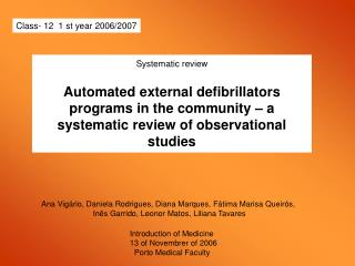 Systematic review  Automated external defibrillators programs in the community   a systematic review of observational  s