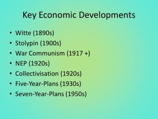 Key Economic Developments
