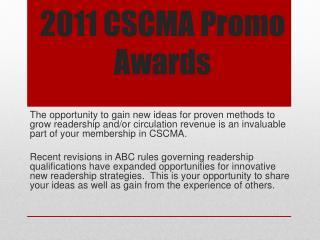 2011 CSCMA  Promo Awards