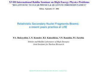 XVIII International Baldin Seminar on High Energy Physics Problems