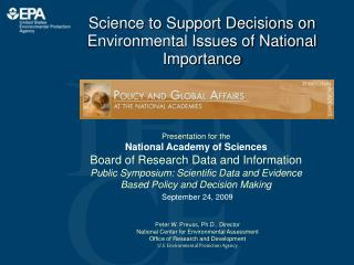 Science to Support Decisions on Environmental Issues of National Importance