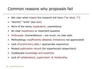 Common reasons why proposals fail