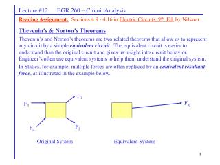 Lecture #12      EGR 260 – Circuit Analysis