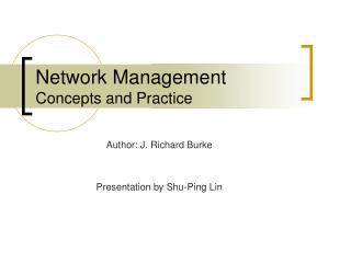 Network Management Concepts and Practice