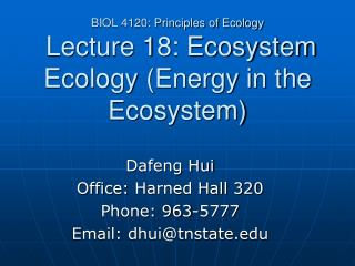 BIOL 4120: Principles of Ecology  Lecture 18: Ecosystem Ecology (Energy in the Ecosystem)
