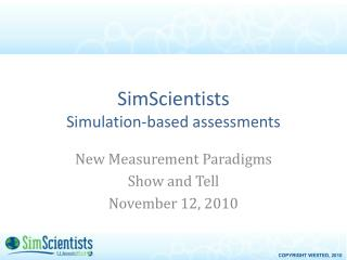 SimScientists Simulation-based assessments