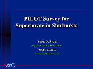 PILOT Survey for Supernovae in Starbursts