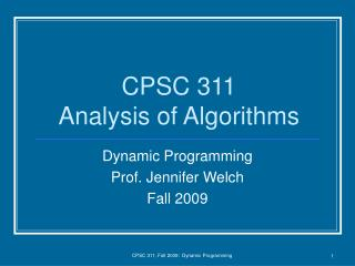 CPSC 311 Analysis of Algorithms