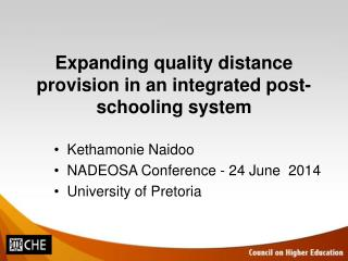 Expanding quality distance provision in an integrated post-schooling system