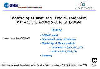 Monitoring of near-real-time SCIAMACHY, MIPAS, and GOMOS data at ECMWF