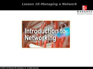 Lesson 10-Managing a Network