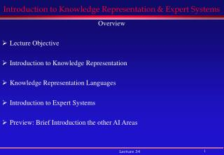 Introduction to Knowledge Representation & Expert Systems