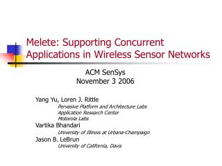 Melete: Supporting Concurrent Applications in Wireless Sensor Networks