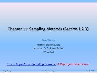 Chapter 11: Sampling Methods (Section 1,2,3)