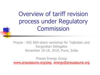 Overview of tariff revision process under Regulatory Commission