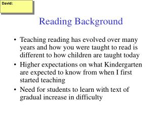 Reading Background