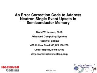 An Error Correction Code to Address Neutron Single Event Upsets in Semiconductor Memory