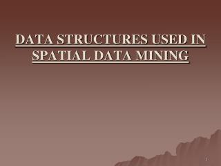 DATA STRUCTURES USED IN SPATIAL DATA MINING