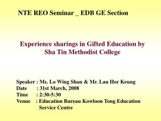 NTE REO Seminar _ EDB GE Section