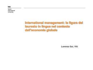 International management: la figura del laureato in lingue nel contesto dell'economia globale
