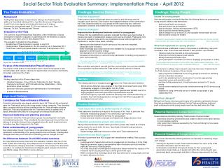 Social Sector Trials Evaluation Summary: Implementation Phase - April 2012
