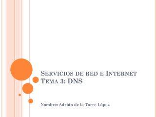Servicios de red e Internet Tema 3: DNS