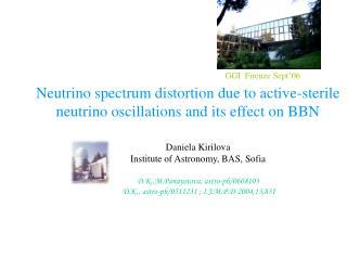 Daniela Kirilova Institute of Astronomy, BAS, Sofia D.K.,M.Panayotova, astro-ph/0608103