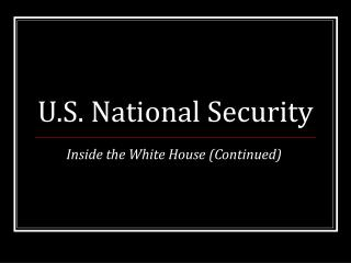 U.S. National Security
