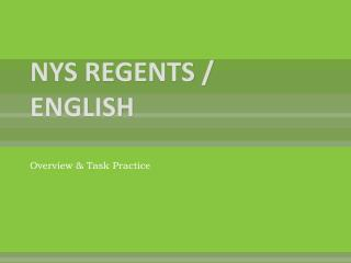 NYS REGENTS / ENGLISH