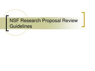 NSF Research Proposal Review Guidelines