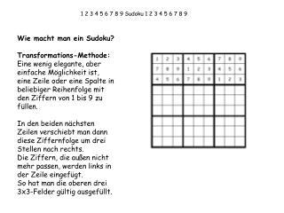 1 2 3 4 5 6 7 8 9 Sudoku 1 2 3 4 5 6 7 8 9