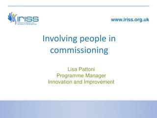 Involving people in commissioning
