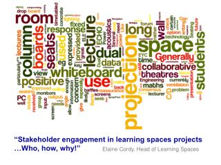 �Stakeholder engagement in learning spaces projects    �Who, how, why!�