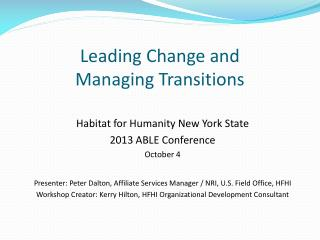 Leading Change and  Managing Transitions