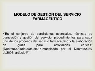 MODELO DE GESTIÓN DEL SERVICIO FARMACÉUTICO