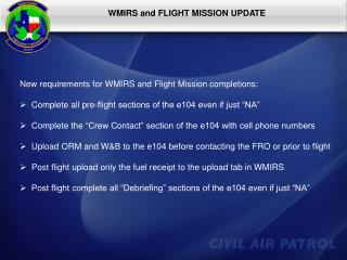 WMIRS and FLIGHT MISSION UPDATE
