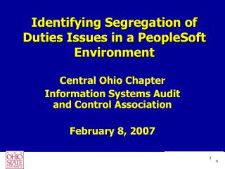 Identifying Segregation of Duties Issues in a PeopleSoft Environment