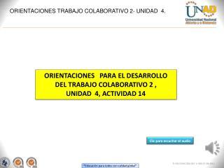 ORIENTACIONES TRABAJO COLABORATIVO 2- UNIDAD  4.