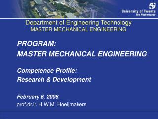 Department of Engineering Technology MASTER MECHANICAL ENGINEERING